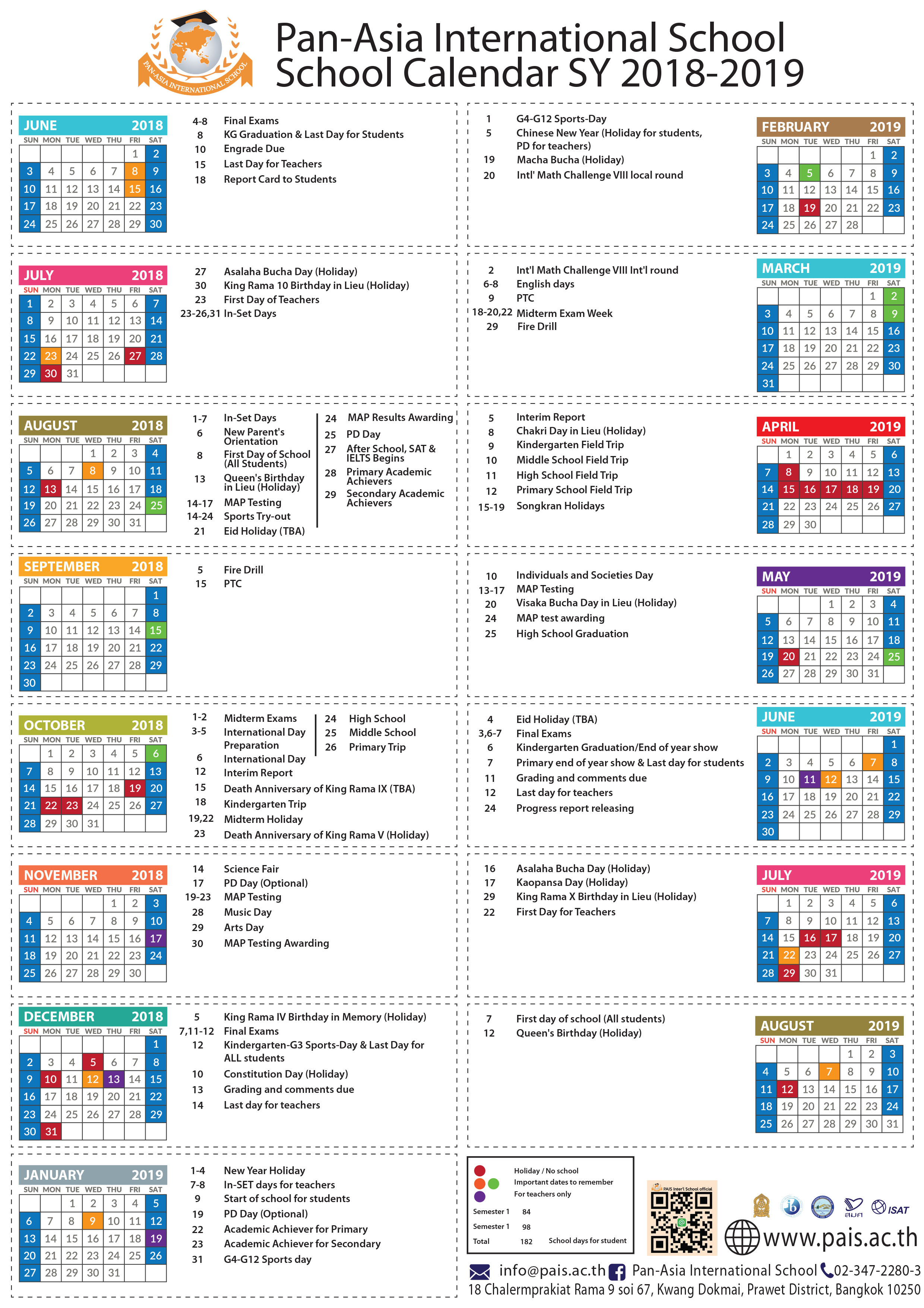 Calendar Pan Asia International School